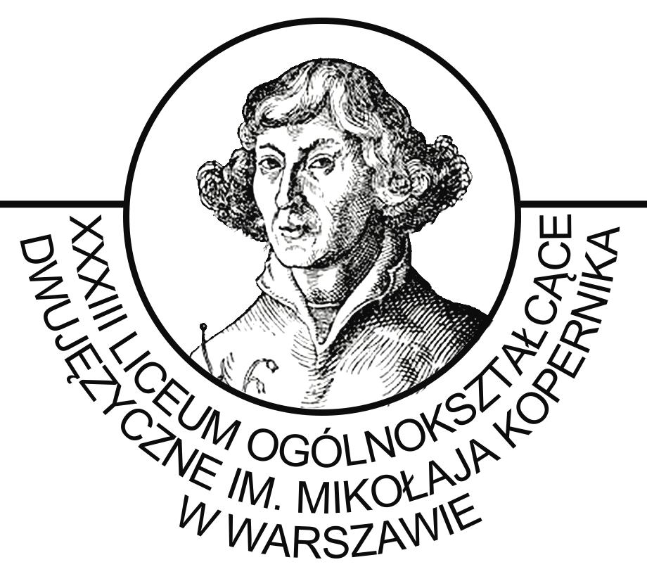 Logo XXXIII Liceum Ogólnokształcącego Dwujęzycznego im. Mikołaja Kopernika